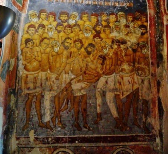 ציור הקיר שמתאר את 40 המרטירים בכנסיית Agios Nikolaos tis Stegis