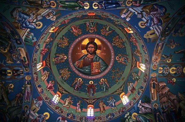 תקרת כנסייה מעוטרת בציורי אמנות דתית קפריסאית