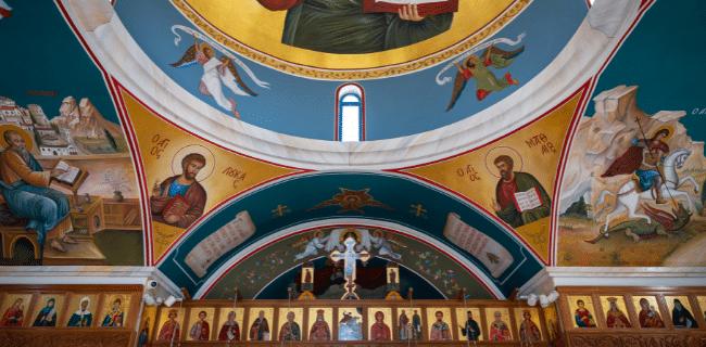 תקרה מצוירת בכנסיית ניקולס הקדוש בירוסקיפו